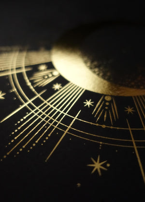 Moon Totem art print in gold foil and black paper with stars and moon by Cocorrina