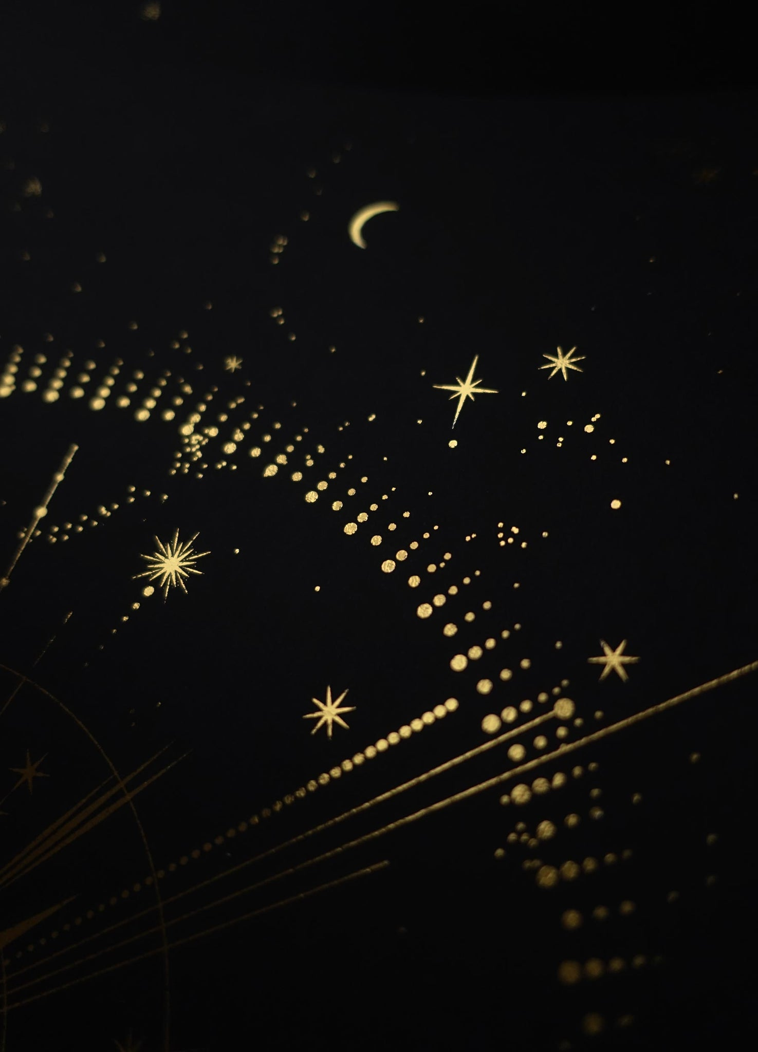 Star in the night sky personalised art print in gold foil and black paper with stars and moon by Cocorrina