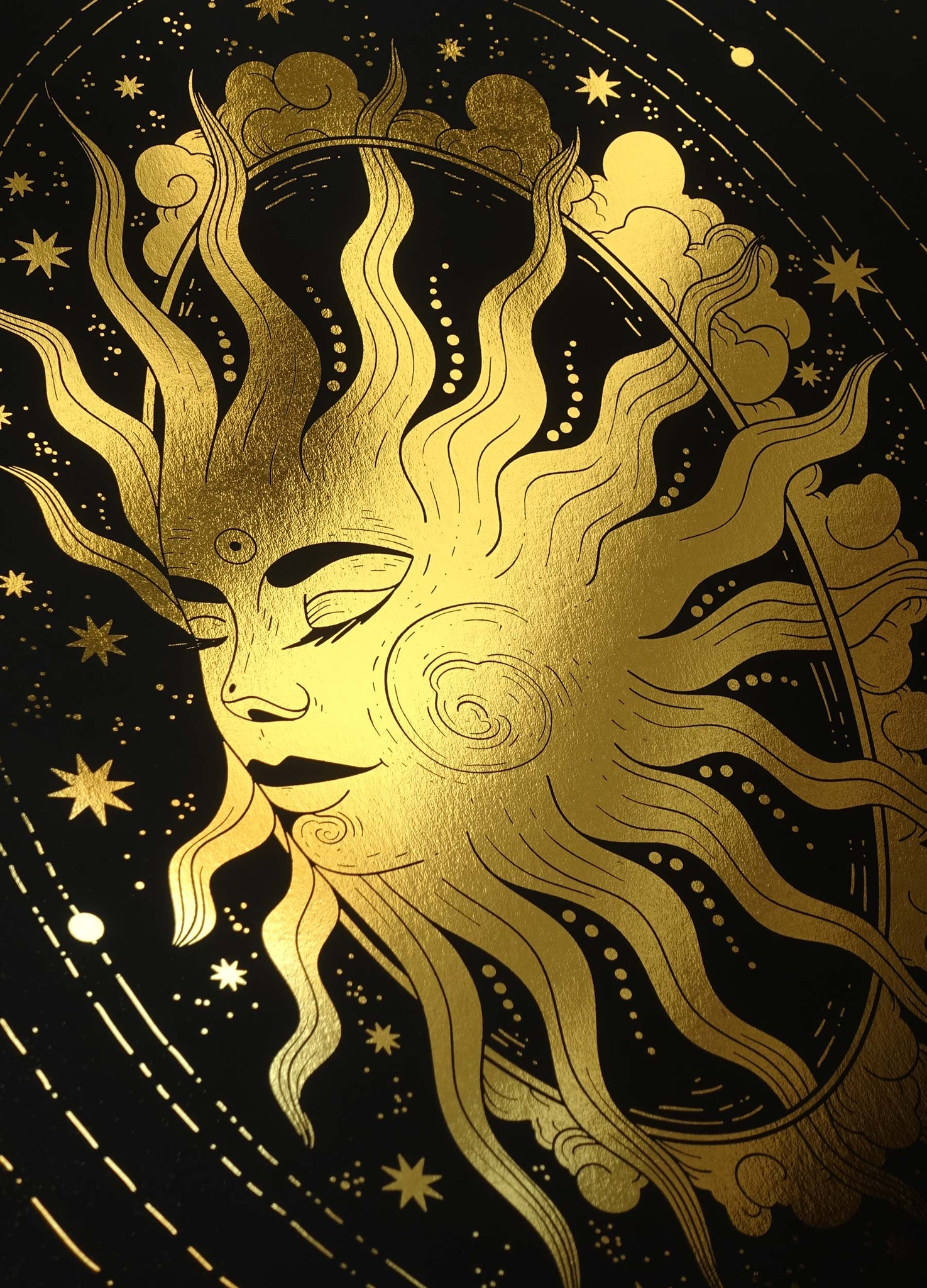 The Sun gold foil art print on black paper by Cocorrina & Co