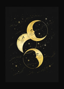 Three Moons gold foil art print on black paper by Cocorrina & Co