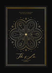 Love Knot Love Talisman 6 Hearts in a symbol art print on black paper with gold foil by Cocorrina & Co