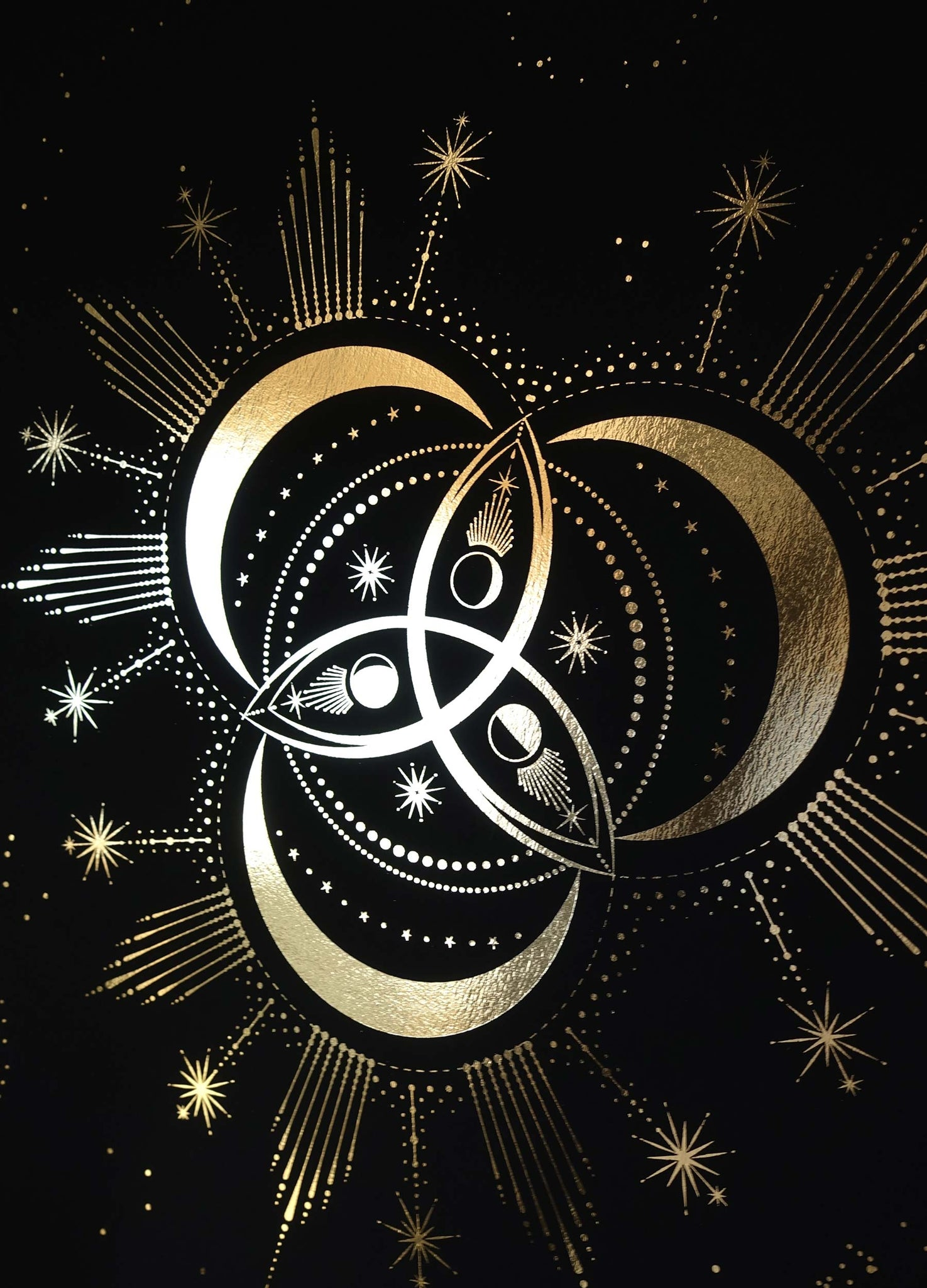 Triquetra Symbol Print in gold foil on black paper by Cocorrina & Co