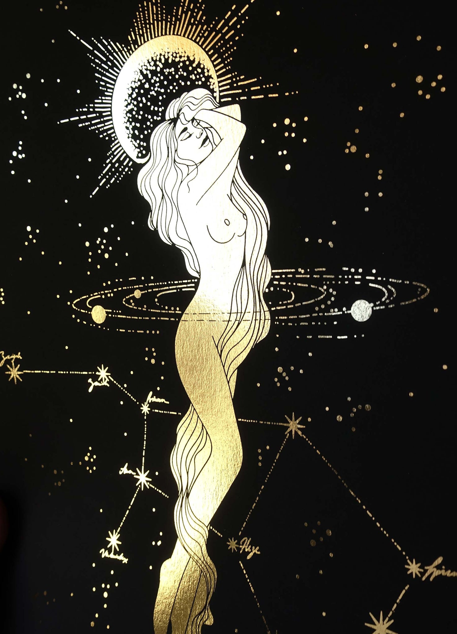 Virgo Zodiac Sign and Constellation Print gold foil on black paper by Cocorrina & Co