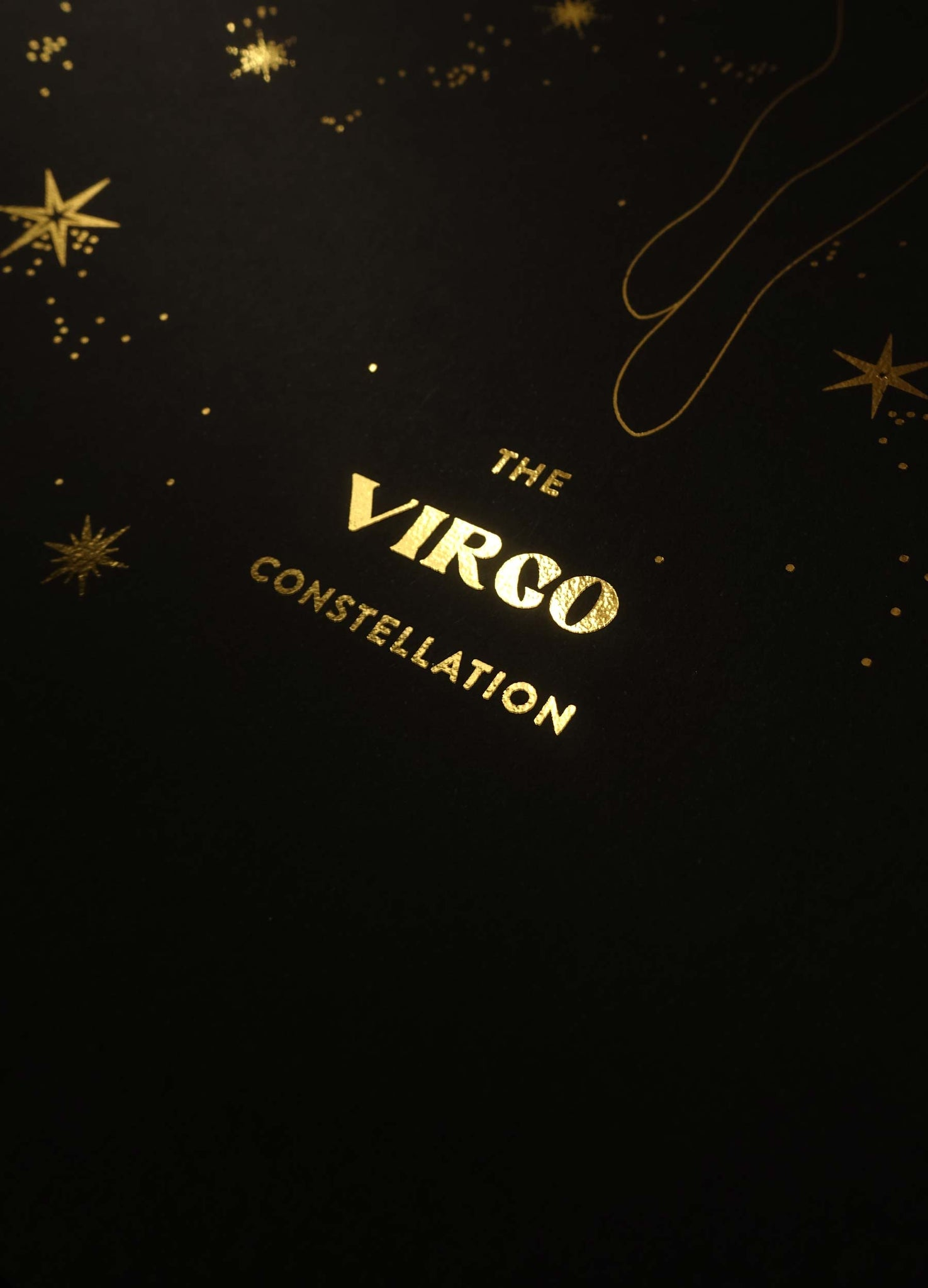 Virgo Constellation gold foil art print on black paper by Cocorrina & design studio and shop