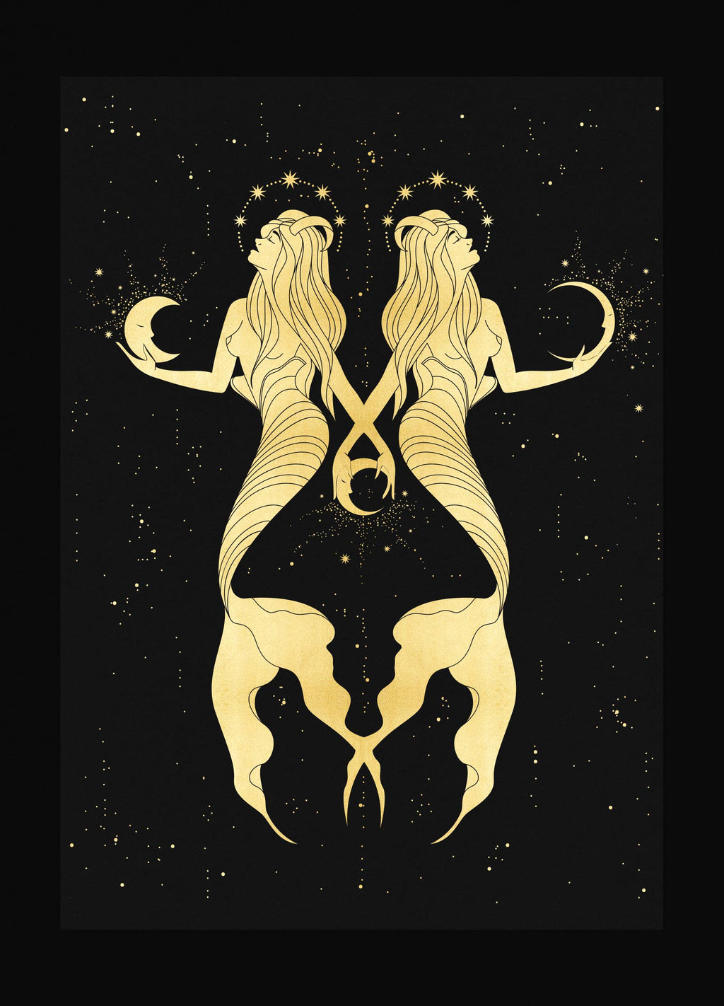 Water Nymphs Gold foil artwork print on Black paper by Cocorrina & Co Shop