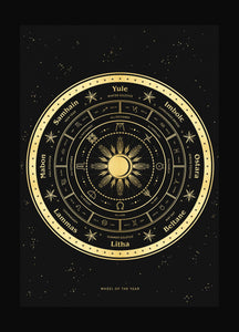 Witch's wheel of the year holiday calendar art print in gold foil and black paper with stars and moon by Cocorrina