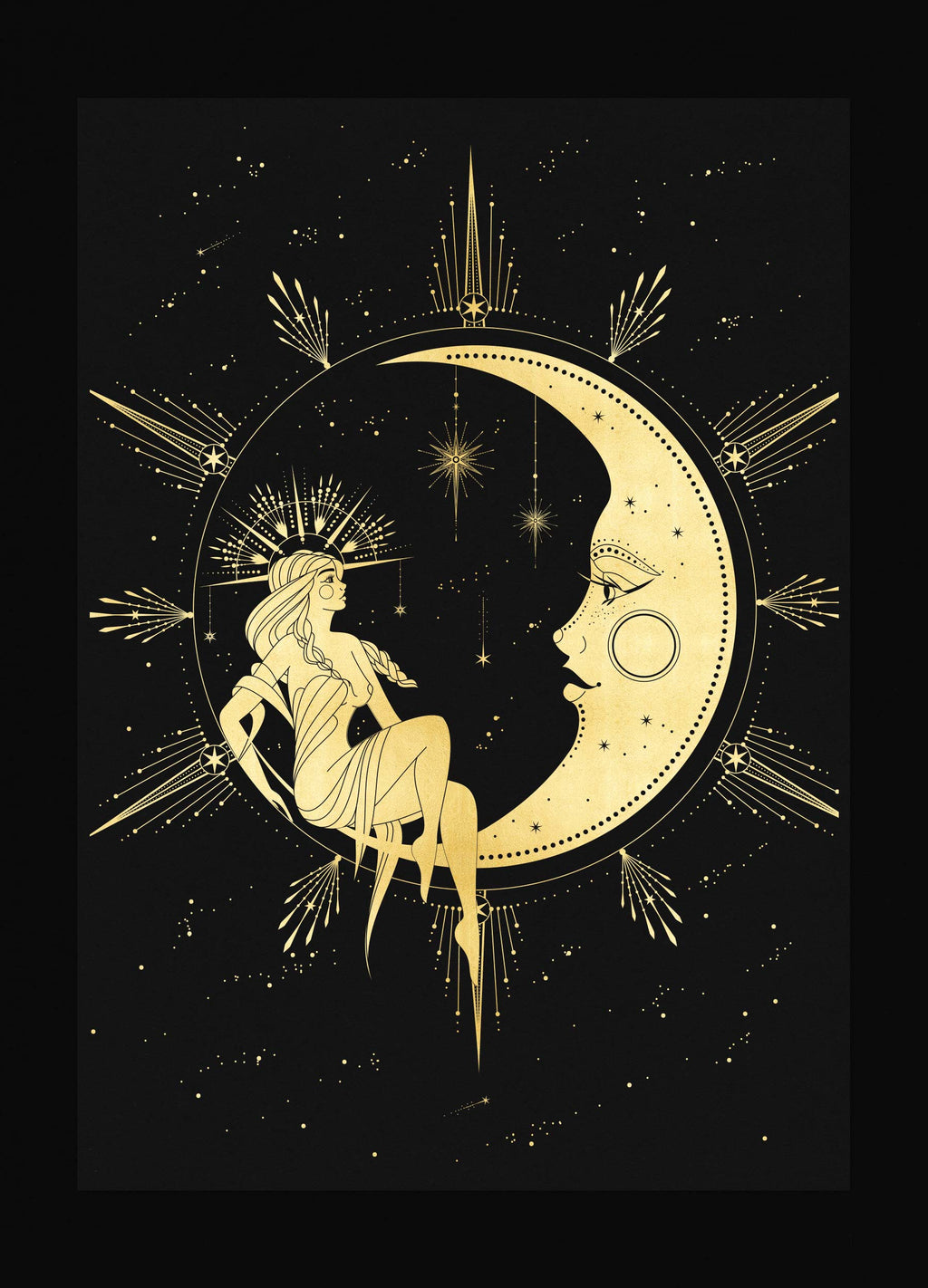 The Moon & The Witch Gold foil art print on black paper by Cocorrina & Co Shop