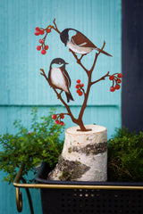 Chickadees & Berries - Painted