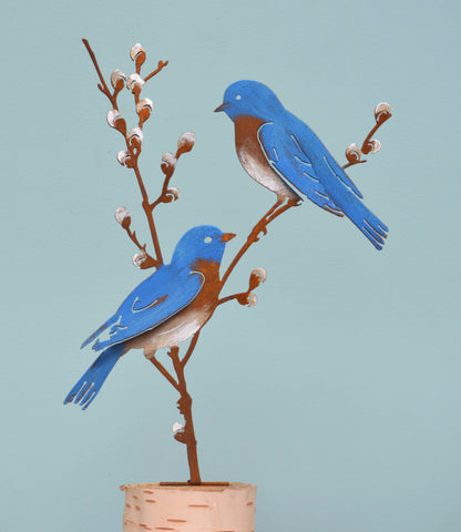 Bluebirds on Pussy Willow - Painted