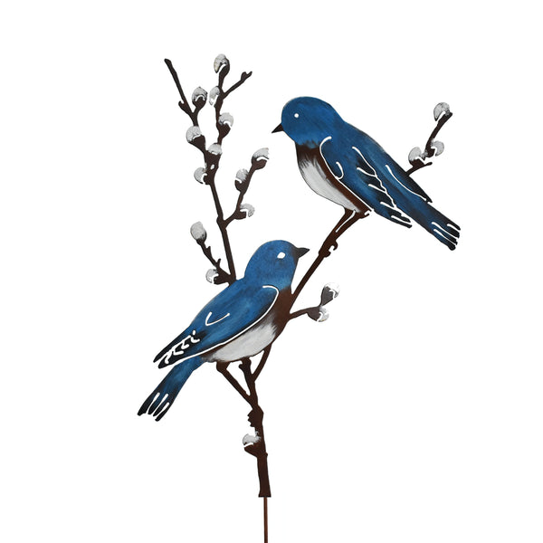 Bluebirds on Willow Branch Stake - Painted
