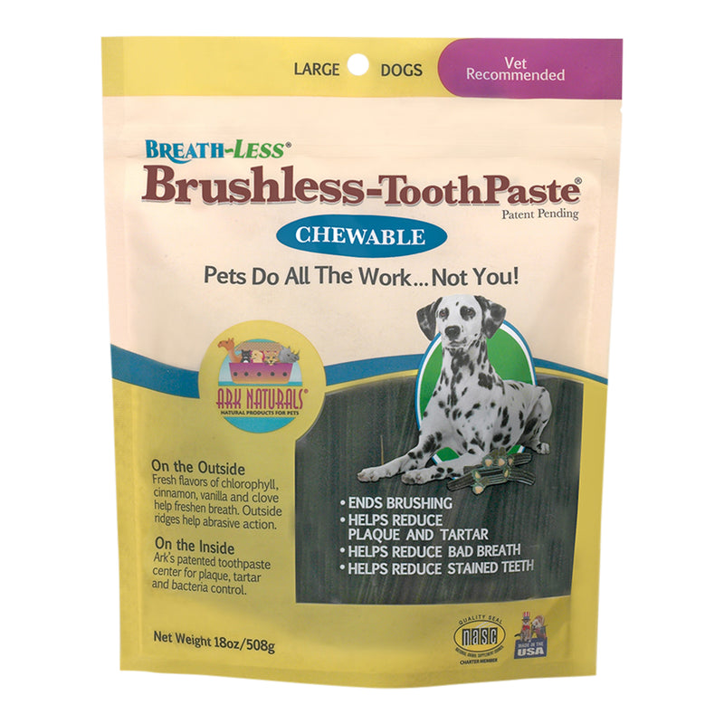Ark Naturals Breath-Less Chewable Brushless-Toothpaste Natural Dental Chew Dog Treats