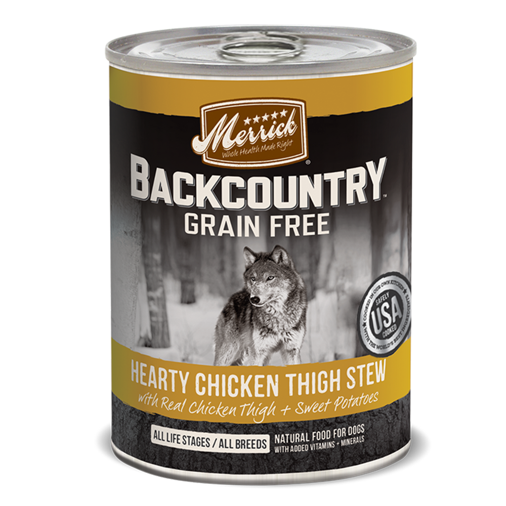 Merrick Backcountry Grain Free Hearty Chicken Thigh Stew Wet Dog Food