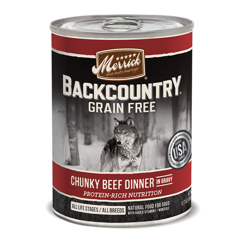 Merrick Backcountry Chunky Beef Dinner in Gravy Wet Dog Food