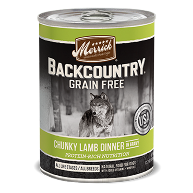 Merrick Backcountry Chunky Lamb Dinner in Gravy Wet Dog Food