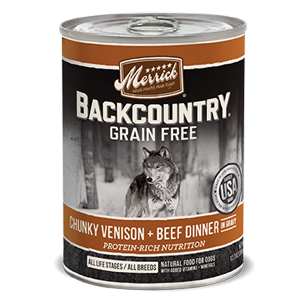 Merrick Backcountry Grain Free Chunky Venison + Beef Dinner in Gravy Wet Dog Food