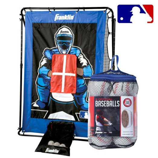 FRANKLIN BASEBALL PITCHING TARGET, RETURN & BASEBALLS SET