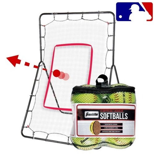 FRANKLIN SOFTBALL PITCH RETURN & 4 SOFTBALLS SET