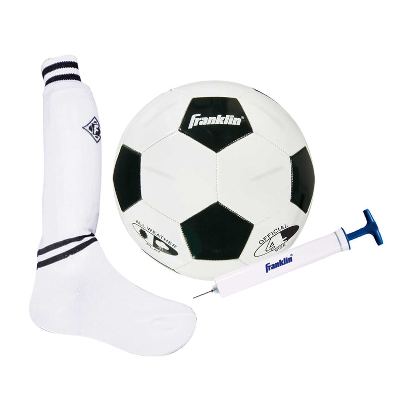 Franklin KIDS SOCCER BEGINNER SET WITH BALL, SHIN GUARDS, SOCKS AND PUMP