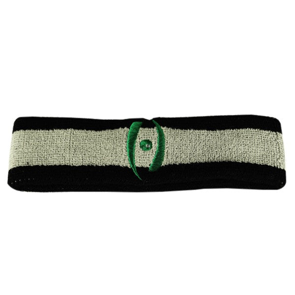 Harrow Icon Striped Headband Black Grey Black Kelly Green Icon
