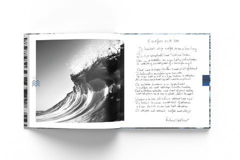 Mockup of the memorial book with a photograph of a breaking wave and a poem.