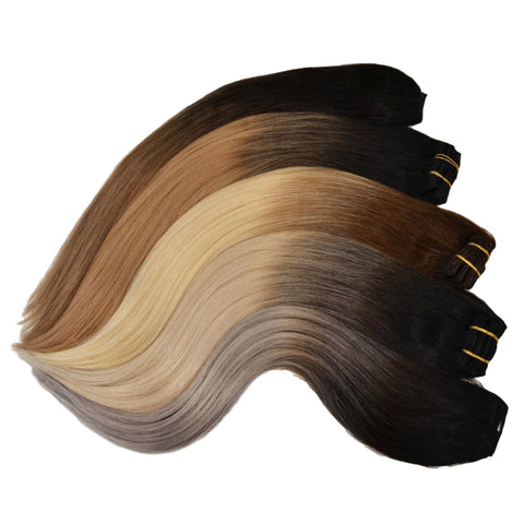 Minque tape hair extensions come in a wide variety of balayage shades.