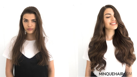 Before and After of Minque Hair Extensions