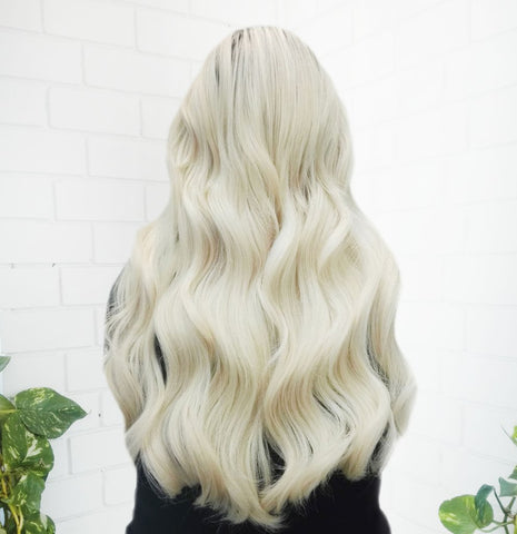 platinum blonde halo hair extensions | halo hair extensions available online | how to apply halo hair extensions | best quality halo hair extensions