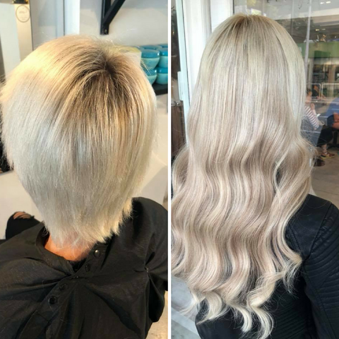 Before and After hair salon transformation using Minque Extensions