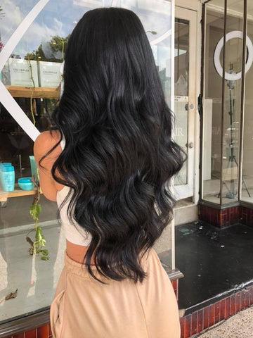 onyx black #1 weft hair extensions 20inch deluxe