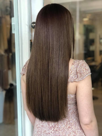 bronze brown #4 weft hair extensions 26inch deluxe