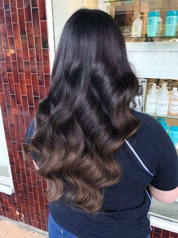 brownie points #1b-4 balayage tape hair extensions 26inch 20pcs - half head