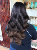 brownie points #1b-4 balayage clip in hair extensions 26inch classic