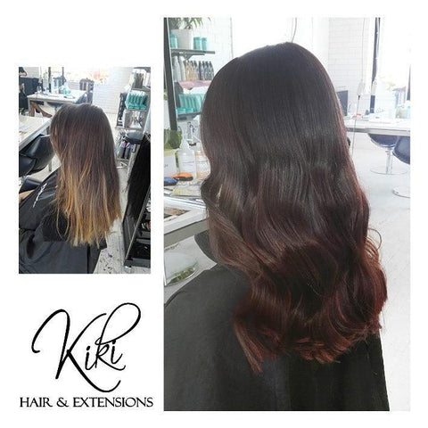 brownie points #1b-4 balayage halo hair extensions 20inch classic