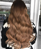 caramello haze #3-12 balayage halo hair extensions 26inch classic