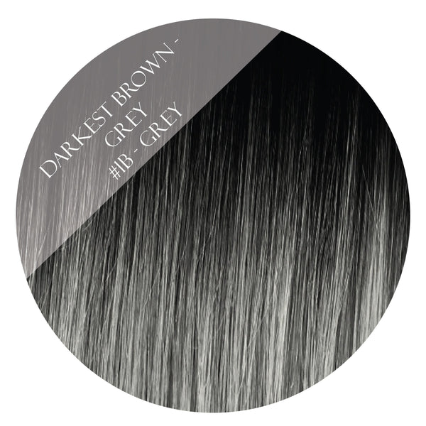 solar eclipse #1b-grey balayage halo hair extensions 20inch deluxe
