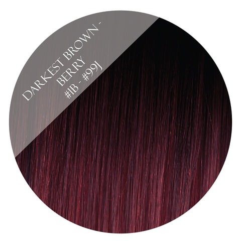 berry bliss #1b-99j balayage halo hair extensions 26inch deluxe