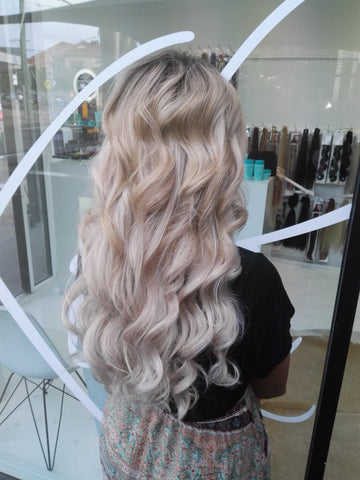 creme brulee blonde #22 clip in hair extensions 22inch deluxe