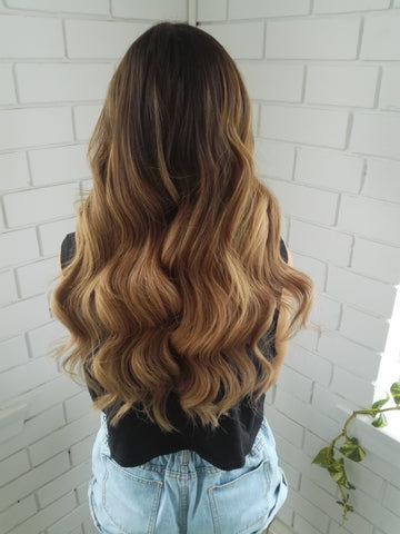 kit kat #1b-17 balayage clip in hair extensions 22inch deluxe
