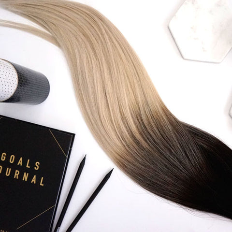 oreo #1b-platinum balayage tape hair extensions 20inch 80pcs - two full heads