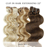 bronze bliss #27/3 clip in hair extensions 22inch classic
