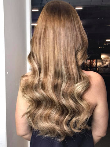 caramel swirl #12/613 clip in hair extensions 22inch deluxe
