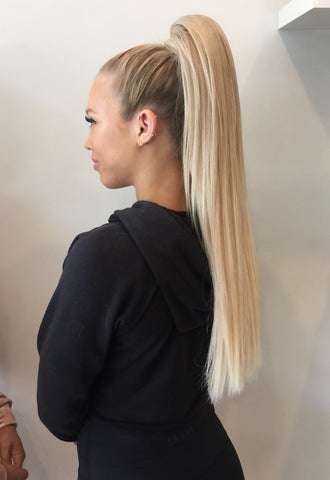 strawberries & cream #14/613 clip on ponytail hair extensions 26inch deluxe 26inch