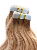 golden brown #6 tape hair extensions 26inch 20pcs - half head