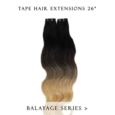 solar eclipse #1b-grey balayage tape hair extensions 26inch 80pcs - two full heads