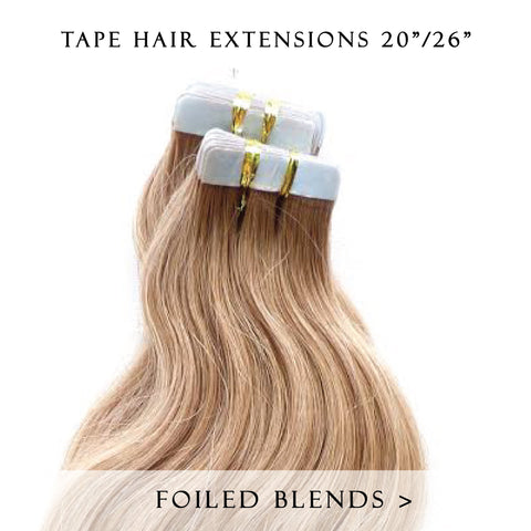 caramel swirl #12/613 tape hair extensions 26inch 20pcs - half head