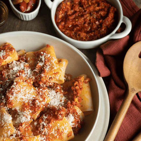 How to make a spicy red pepper pasta sauce with paccheri pasta with the TerraMar Imports box. This traditional Italian pesto sauce recipe comes with a kick and packs a punch of flavor.