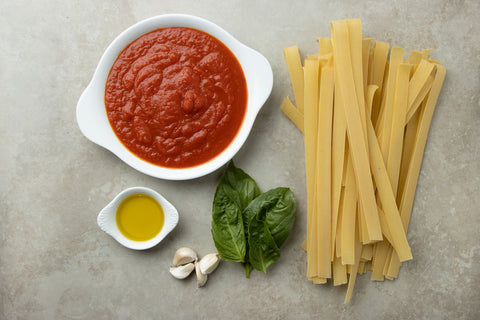 Ingredients to make a Pappardelle Pasta with Roasted Cherry Tomato Sauce