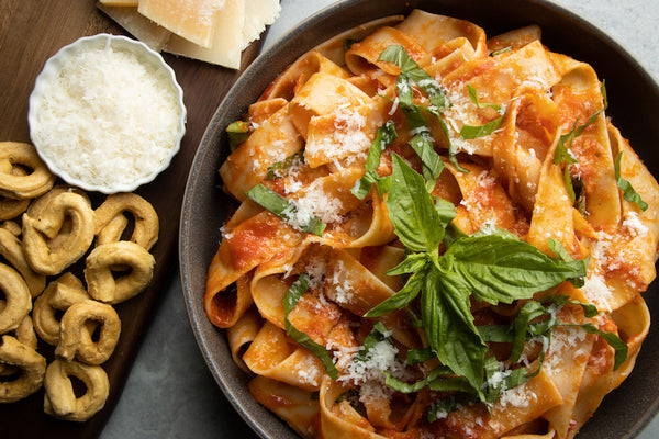 Pappardelle Pasta with Roasted Cherry Tomato Sauce