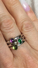 oval and rose cut birthstone stacking ring set