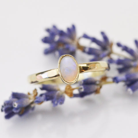 Opal in gold - birthstone for October